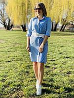 Платье рубашка горох с поясом