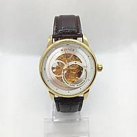 Механические наручные часы Forsining Winner, золото с коричневым ремешком ( код: IBW341YKO )