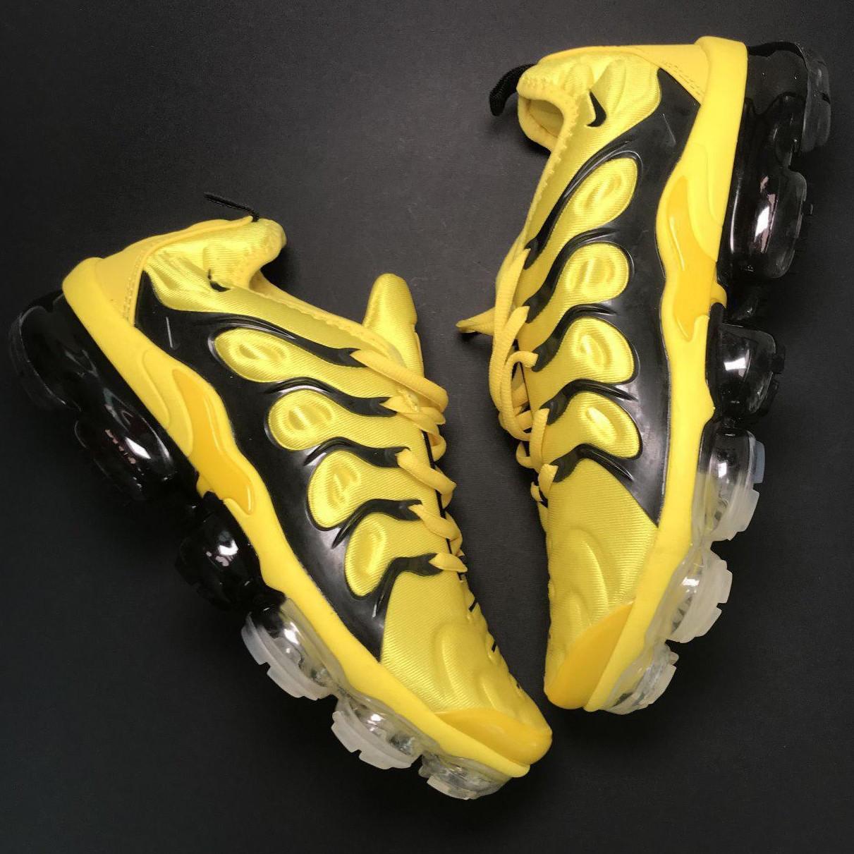Кроссовки женские Nike VaporMax TN желтые-черные (Top replic)