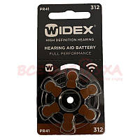 Батарейки для слуховых аппаратов Widex 312, 6 шт., фото 1