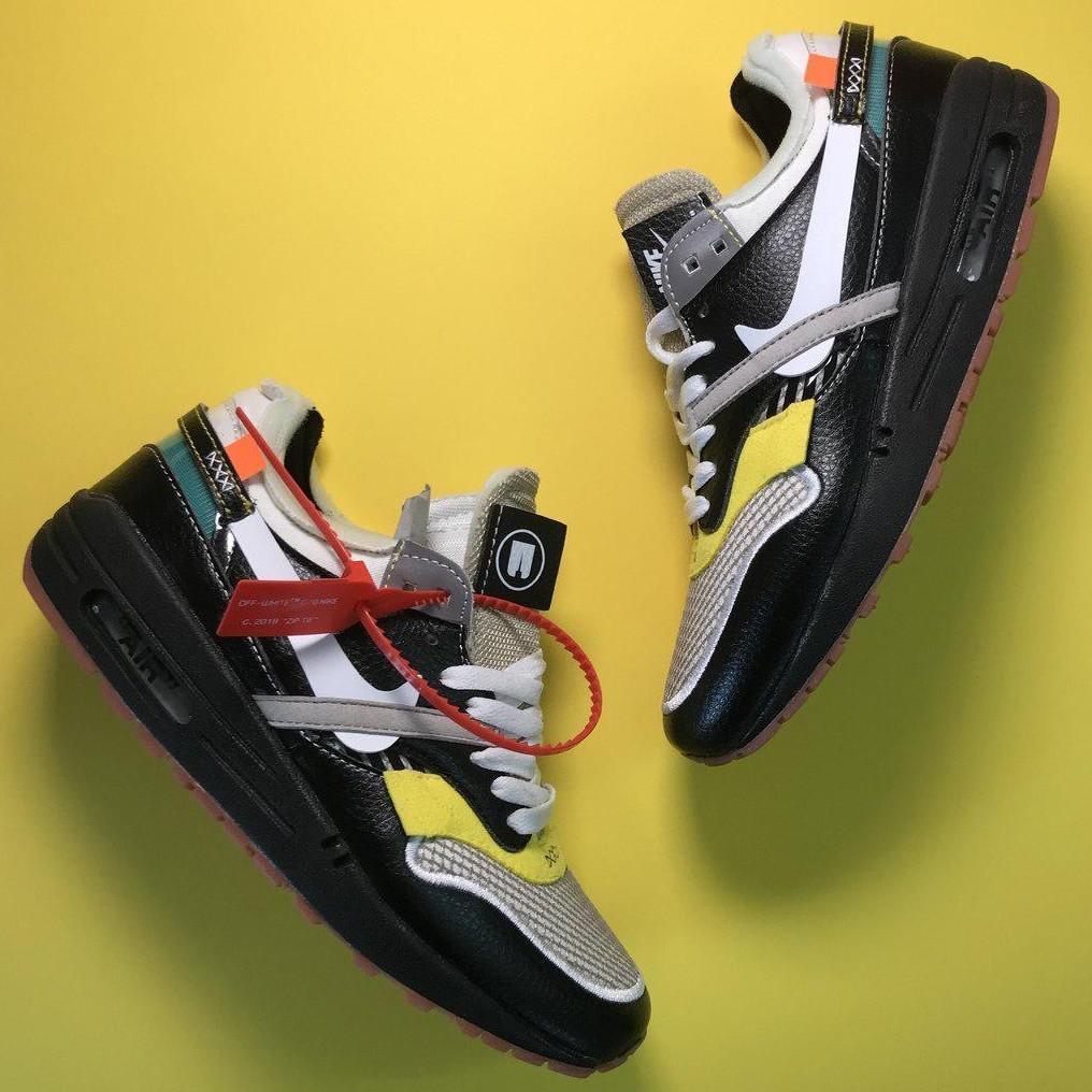 Кроссовки женские Nike Air Max 87 Og X Off-White черные-белые-желтые (Top replic)