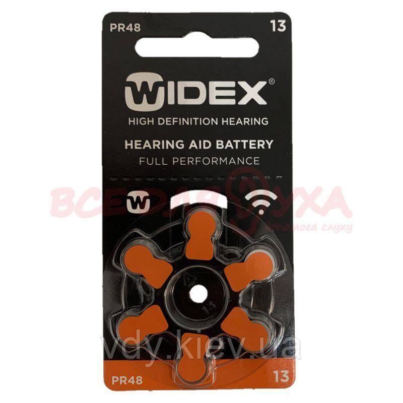Батарейки для слуховых аппаратов Widex 13, 6 шт.