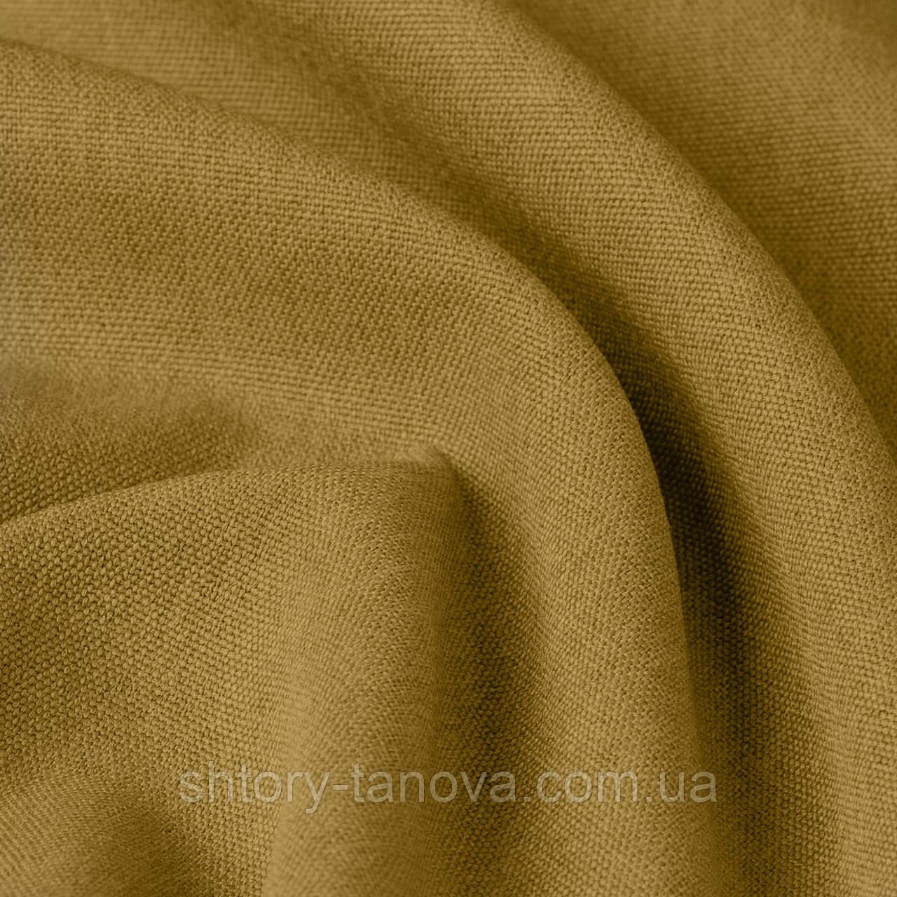 Фактурная однотонная рогожка для шторы вощаного цвета 300см