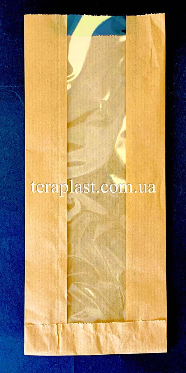 Пакет бумажный саше бурый 100х240х30 + окно 40 (импортный крафт)