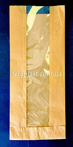 Пакет бумажный саше бурый 100х240х30 + окно 40 (импортный крафт), фото 2