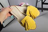 Женские замшевые шлепанцы горчичного цвета, фото 2