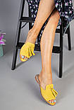 Женские замшевые шлепанцы горчичного цвета, фото 5