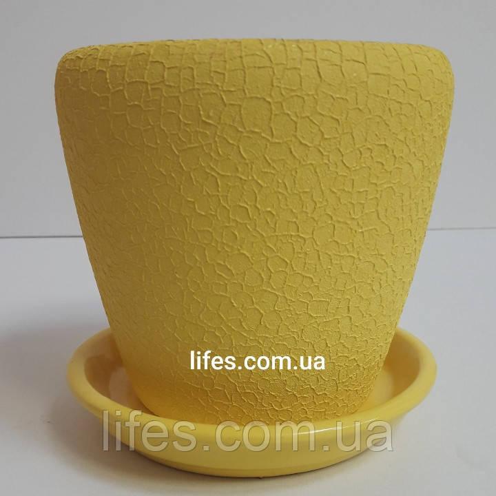 Вазон керамический шелк желтый 1.2л