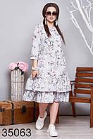 Женское цветочное платье с рукавом три четверти р. 50-52, 54-56, 58-60