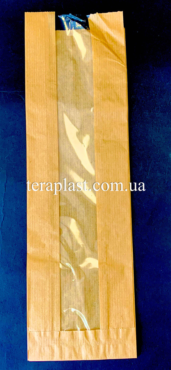 Пакет бумажный саше бурый 100х340х50 + окно 40 (импортный крафт)