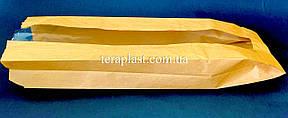 Пакет бумажный саше бурый 100х340х50 + окно 40 (импортный крафт), фото 2