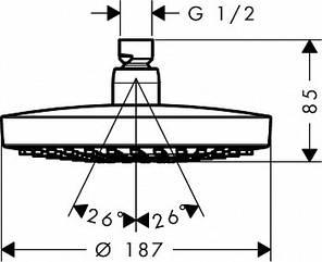 26522000 HG Croma Select S 180 2jet Верхній душ (хром), фото 2