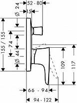 15445000 PuraVida Змішувач до ванни, одноважільний СМ  хром, фото 3