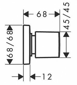 Запорный вентиль Hansgrohe скрытый монтаж, хром 15978400, фото 2
