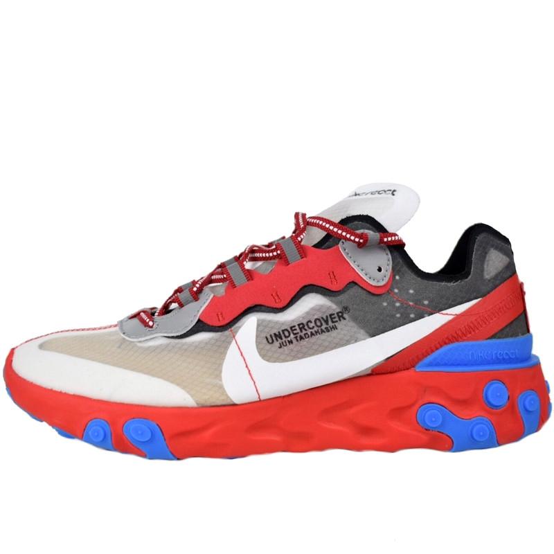 Кроссовки женские Undercover - Nike React Element 87 (серые-красные) Top replic