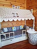 "Балдахин  на  детскую кроватку Домик "" Чехол Крыша "" шатер на кроватку,шалаш детский на крышу, фото 2"