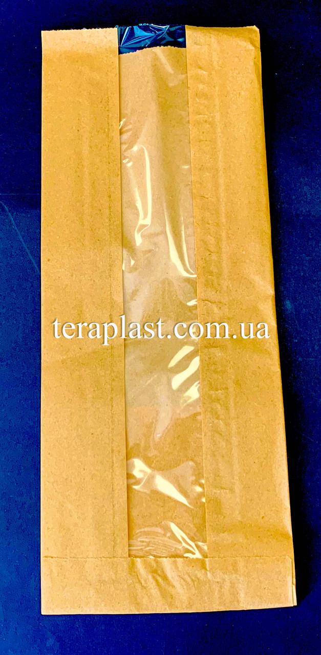 Пакет бумажный саше бурый 120х310х50 + окно 40