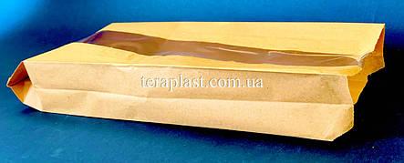 Пакет бумажный саше бурый 120х310х50 + окно 40, фото 2