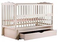 """Детская кроватка для новорожденных Веселка ТМ """"Дубок"""" маятник, ящик, откидной бок, Слоновая кость"""