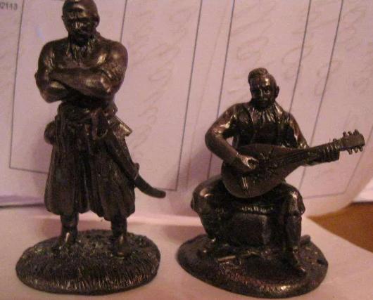 Сувенир фигурка статуэта металл олово сплав козак казаки набор 2шт УКРАИНА