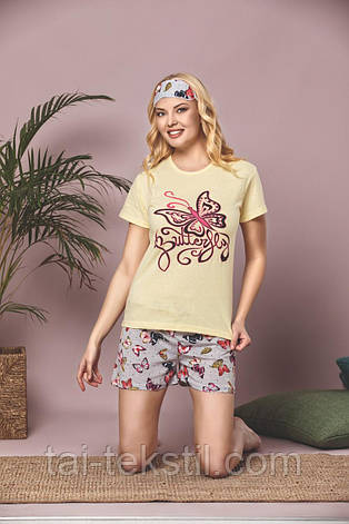 Пижама женская футболка и шорты +маска для сна т.м SAFIR Турция № 1008, фото 2