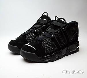 Кроссовки мужские Nike Air More Uptempo x Supreme (черный) Top replic, фото 2