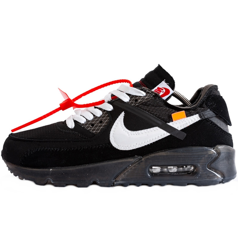 Кроссовки мужские Nike Air Max 90 x Off-White (черные) Top repliс