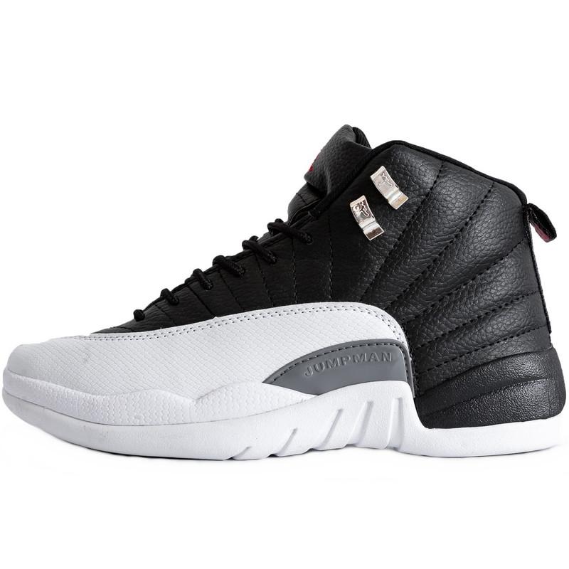 Кроссовки мужские Nike Air JORDAN 12 (черные-белые) Top replic