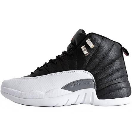 Кроссовки мужские Nike Air JORDAN 12 (черные-белые) Top replic, фото 2