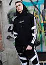Мужской спортивный костюм модный Agresive project Люкс черный с белым, фото 4