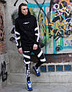 Чоловічий спортивний костюм модний Agresive project Люкс чорний з білим, фото 6
