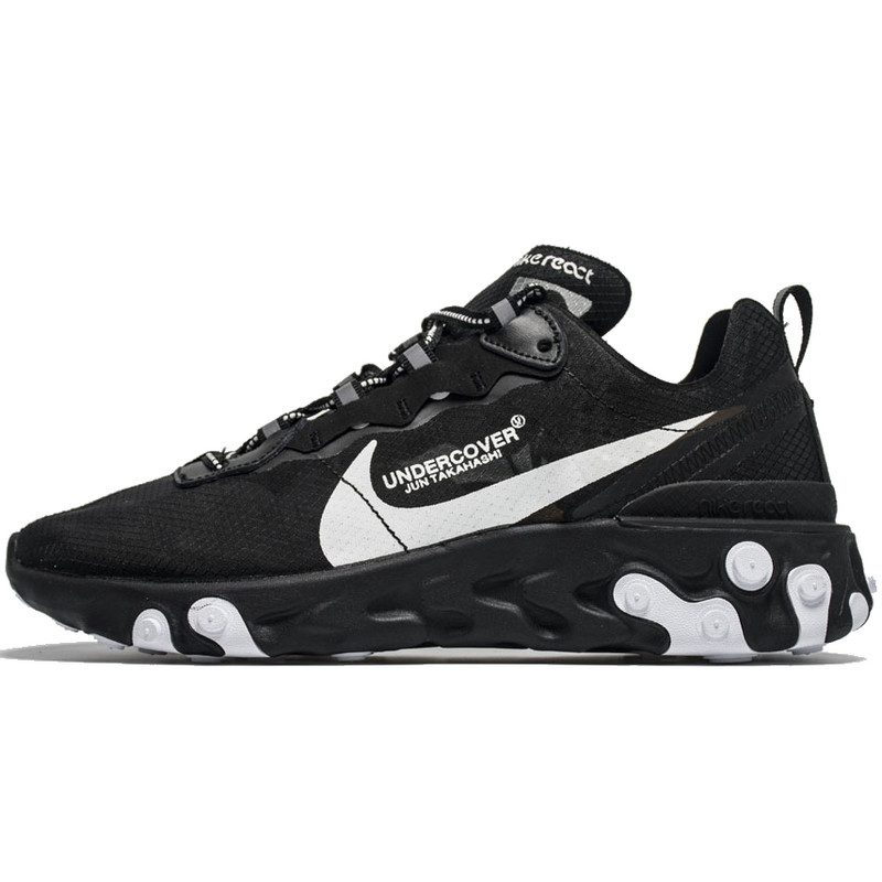 Кроссовки мужские Undercover - Nike React Element 87 (черные-белые) Top replic