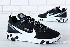 Кроссовки мужские Undercover - Nike React Element 87 (черные-белые) Top replic, фото 2