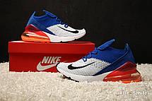 Кроссовки мужские Nike Air Max 270 Flyknit Racer (белые-синие-красные) Top replic, фото 3