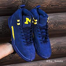 Кроссовки мужские Nike Air JORDAN 12 (синие) Top replic, фото 3