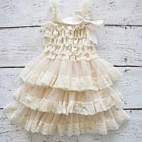 Платье сарафан с атласными лентами  7-8 лет