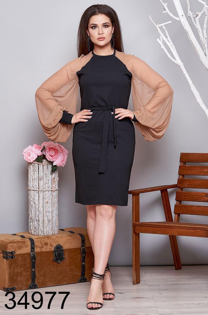 Вечернее приталенное платье с ажурными рукавами р. 48-50, 52-54