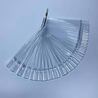 Палитра типсы квадратные на кольце для демонстрации гель-лаков 50 шт прозрачная