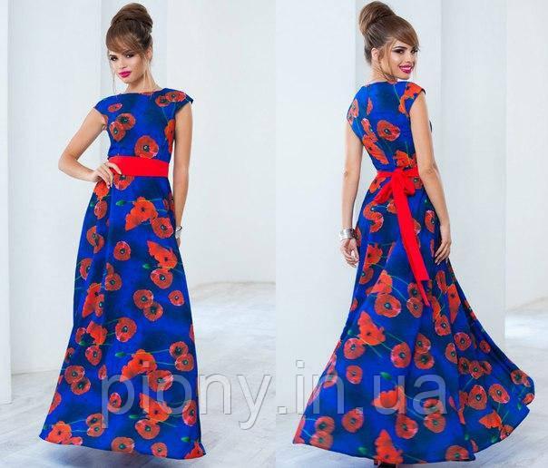 Женское платье в пол принт
