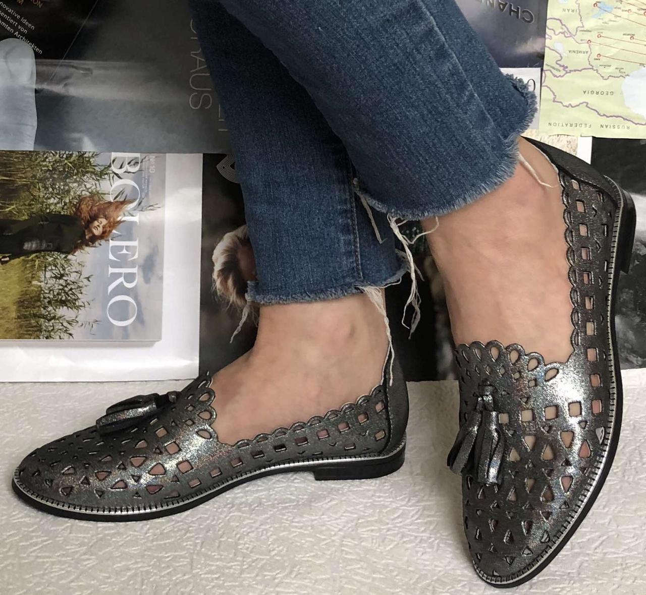 Versace ! Стильные женские цвет никель летние кожаные балетки туфельки в стиле Версаче натуральная кожа