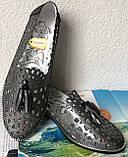 Versace ! Стильные женские цвет никель летние кожаные балетки туфельки в стиле Версаче натуральная кожа, фото 2