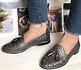 Versace ! Стильные женские цвет никель летние кожаные балетки туфельки в стиле Версаче натуральная кожа, фото 3