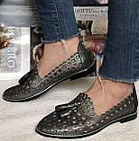 Versace ! Стильные женские цвет никель летние кожаные балетки туфельки в стиле Версаче натуральная кожа, фото 8