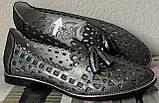 Versace ! Стильные женские цвет никель летние кожаные балетки туфельки в стиле Версаче натуральная кожа, фото 6