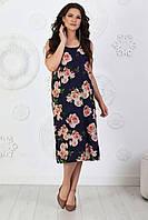 Платье миди прямого кроя. Летнее платье большого размера. Женское летнее легкое платье из софта свободного кроя большого размера.