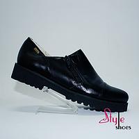 Туфли женские из черной натуральной кожи, фото 1