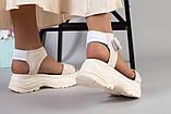 Женские бежевые кожаные сандалии с вставками белой сетки, фото 3