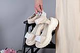 Женские бежевые кожаные сандалии с вставками белой сетки, фото 8