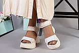 Женские бежевые кожаные сандалии с вставками белой сетки, фото 7