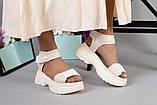 Женские бежевые кожаные сандалии с вставками белой сетки, фото 6